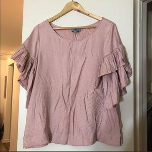 🌼Blouse Sale🌼Pink Ruffle Sleeves Blouse On Sale